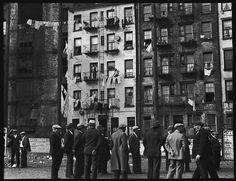 Walker Evans (American, 1903–1975). [Crowd of Men in Front of Tenement Building, New York City], 1933-1934. The Metropolitan Museum of Art, New York. Walker Evans Archive, 1994 (1994.254.606)