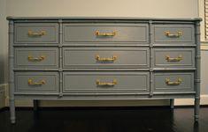 9 drawer Bali Hai dresser in blue-gray