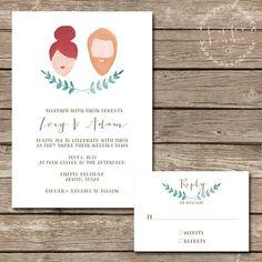 Custom Hand Painted Portrait Wedding Invitation Suite - Printable