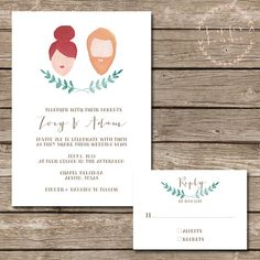 Custom Hand Painted Portrait Wedding Invitation Suite - Printable