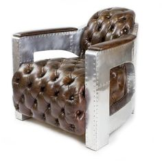 456 Chair in Vintage Club Chair Design Aluminium/Genuine Leather - Rattan Furniture SHOP UK Interior Furniture Club Sofa, Lounge Club, Club Chairs, Chesterfield Chair, Sofa Chair, Industrial Furniture, Luxury Furniture, Rattan Furniture, Leather Sofa