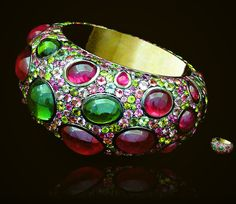 Sultana Bracelet. Mixture pink and green Tourmailnes, set on 18ct. yellow gold by Andre Marcha