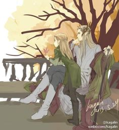 sigun-i-loki:  Thranduil and young Legolas by kagalin.