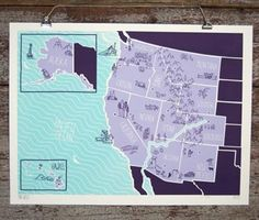 "American Atlas - The Northwest 18"" x 24"" 3 color silkscreen print Signed and numbered edition of 205 $30"