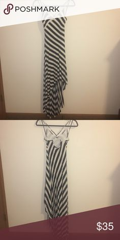 BeBe High-Lo Dress Black and Creme Stripped Hugh-Low dress made by BeBe. Never Worn!!! bebe Dresses High Low
