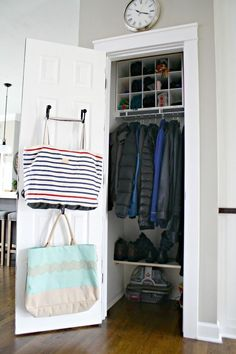 Tips for an organized coat closet @ThriftyDecorChick!
