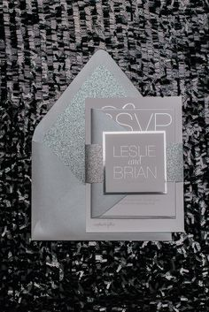LESLIE Suite Glitter Package, all silver wedding invitation, silver foil, silver…