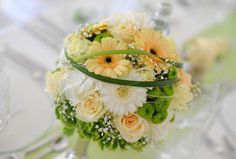 Table decoration of a wedding table with wedding bouquet -