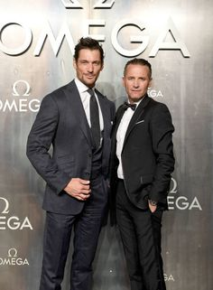 Omega President and CEO Raynald Aeschlimann with David Gandy at the OMEGA 'Lost In Space' dinner to celebrate the 60th anniversary of the OMEGA...