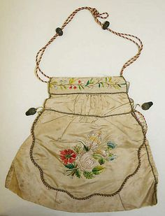 Purse, early 19th century. American or European. Silk, metallic thread. 8.75 in x 9.5 in. wide. MMA, 1980.180.