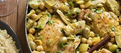 Braised Chicken with artichokes and olives