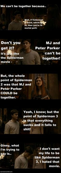 A Very Potter Musical. I agree, Harry. I hate Spiderman Very Potter Musical, Spiderman Movie, Avpm, Team Starkid, The Rocky Horror Picture Show, Mischief Managed, Harry Potter Memes, Look At You, Movies