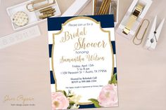 Navy and White Stripe   Peony Flowers  Gold Glitter by JanePaperie