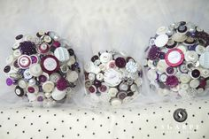 How #stunning are these #buttonbouquets with the #pops of #purple  #alternativebouquet #stunning #buttons #sparkles #alternative #wedding #bride #instaweddings #handmade #love #weddingparty #celebration  #bridesmaids #happiness #unforgettable #forever #ceremony #romance #marriage #weddingday #buttonbouquets #fashion #flowers #australia  www.nicsbuttonbuds.com.au www.facebook.com/nicsbuttonbuds www.pinterest.com/nicsbuttonbuds www.instagram.com/nicsbuttonbuds www.twitter.com/nicsbuttonbuds