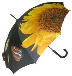 Sunflower with Butterflies Umbrella. Classic and Elegant. Available at www.let-it-rain.com