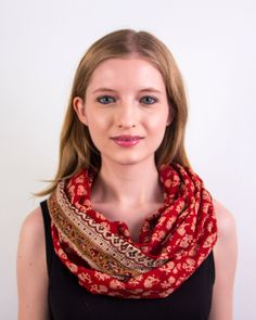 I'm loving the delicate floral print and contrasting fun mustard yellow  border in this dainty scarf. This is one of those scarves that is so comfy,  I think I would wear it everyday! The various designs have been  individually hand block printed throughout the fabric, making each scarf a  one of a kind work of art. The scarf is ethically made with all natural  dyes and some good ol' love. In addition, the scarf is 100% cotton and sewn  in an infinity loop style. It's versatile enough to be…