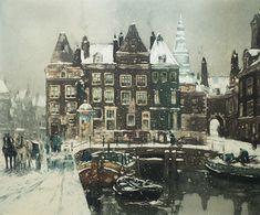 Henri Cassiers - Rokin à Amsterdam en hiver