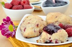 A low-calorie (just 175 to be exact) scone made with whole grains: Raspberry-Lemon Scones Recipe