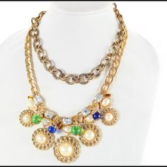 "Colorful statement necklace This one is a statement piece indeed! Colorful crystals and rhinestones with antique gold plating. 18""long + extension Jewelry Necklaces"