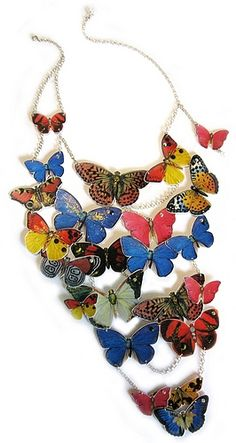STATEMENT NECKLACE HAPPY COLORFUL BUTTERFLIES ON ADJUSTABLE STERLING SILVER CHAIN UNIQUE ECO FRIENDLY PAPER JEWELRY 19N39