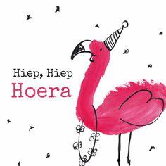 Verjaardagskaart Flamingo, verkrijgbaar bij #kaartje2go voor € 1,79