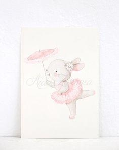 Baby Girl Drawing, Bunny Drawing, Bunny Art, Nursery Stickers, Nursery Wall Decals, Nursery Art, Ballerina Art, Bunny Nursery, Baby Illustration