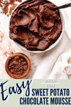 This simple vegan sweet potato mousse is super decadent and rich, yet made with just sweet potatoes, cocoa powder, vanilla, and a pinch of sea salt! No sugar added, yet perfectly sweet and indulgent, this is the easiest healthy chocolate mousse recipe ever! Healthy Chocolate Desserts, Vegan Chocolate Mousse, Healthy Dessert Recipes, Vegan Desserts, Vegetarian Recipes, Healthy Christmas Recipes, Vegan Christmas, Paleo Sweet Potato, Gluten Free Sweets