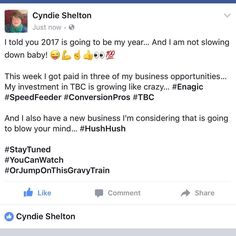 2017 is going to be my year... #enagic #speedfeeder #conversionpros #tbc #NewBizOpComing #staytuned #YouCanWatch  #OrJumpOnThisGravyTrain