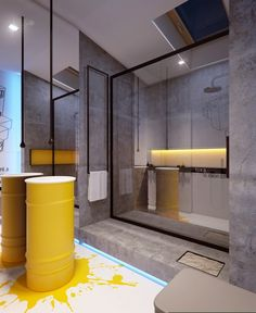 Home Office Concrete Bathroom Wall Design Ideas With Yellow Spirit Bedroom Vanity Table And Glass Separator In Bathroom Contemporary Interior Home Design with Flat Sleek Bedroom