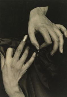 (Detail)  The hands of Georgia O'Keefe, 1920. Photographed by  Alfred Stieglitz.