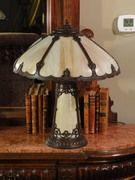 Lovely Slag Glass Lighted Base Lamp