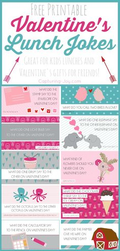 Valentine's Day Lunch box jokes for kids! Free Printable! Capturing-Joy.com