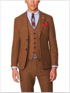 2018 New Arrival Brown Tweed Suit Men Skinny Gentle Blazer Prom Style Jackets Men Winter Tuxedo Autumn Custom 3 Piece Terno Ht