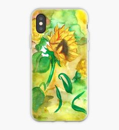 Yellow Flower iPhone Case Yellow Sunflower, Yellow Flowers, Iphone Case Covers, Create Your Own, Ipad, Illustration, Artwork, Design, Work Of Art