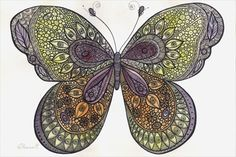 Butterfly Painting - Original Colorful Illustration - Watercolor and black ink, Wall decoration https://www.etsy.com/listing/204184624/butterfly-painting-original-colorful?ref=shop_home_active_3