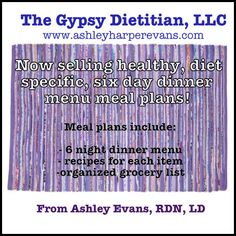 $5 Six Night Healthy Dinner Meal Plans! Includes menu, recipes and grocery list! Purchase right from your computer! #healthymealplans #dietitianapproved #dinnermadeeasy #healthydinner #mealplans #dinner #healthyrecipes #healthy #recipes #quickdinnerrecipes #busy