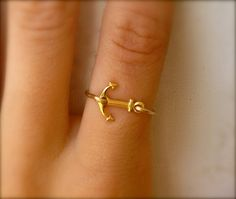 (1) Black Friday Sale Anchor Ring - Gold Sideways Anchor Ring on Wanelo