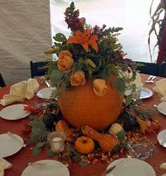 for fall table decorations . taking the natural elements of this harvest season, incorporating small pumpkins, squash etc. around the table. Fill pumpkins with coordinating fall wedding flowers wedding-inspirations-maryland Halloween Wedding Centerpieces, Fall Wedding Decorations, Wedding Ideas, Wedding Favors, Wedding Bouquets, Wedding Stuff, Wedding Inspiration, Wedding Reception, Wedding Venues