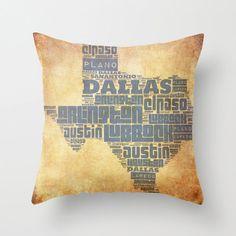 Texas Pillow Texas Cities Typography Dallas Laredo Arlington Pillow Home Decor Home Decor on Etsy, $34.99