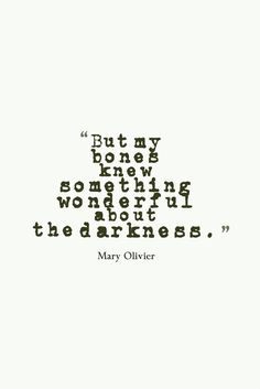 """""""But my bones knew something wonderful about the darkness"""" -Mary Oliver"""