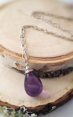 Faceted Amethyst Sterling Silver Wire Wrapped by Bellebijouatelier, $40.00