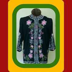 """HALF PRICE SALE """"EARTH MOTHER"""" Styles boho top with flattering Korean style color and embroidered flowers.. Simrin Tops Tunics"""