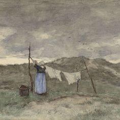 Vrouw bij een waslijn in de duinen, Anton Mauve, 1848 - 1888 - Rijksmuseum
