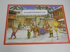 Swedish Christmas Poster Print by Erik Forsman 10323 Gnome Tomte with Horse | eBay