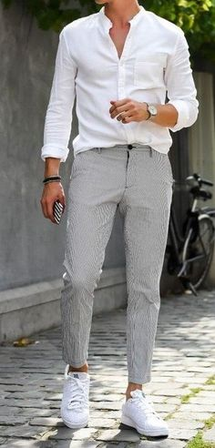 Hot fresh summer style for White button down shirt with grey pants and white sneakers. Hot fresh summer style for White button down shirt with grey pants and white sneakers. Style Outfits, Cool Outfits, Summer Outfits, Outfits For Men, Trendy Outfits, Grey Pants Outfit, Mens Grey Pants, Pants For Men, White Shirt Grey Pants