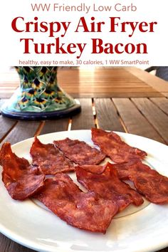 Easy, healthy, Weight Watchers friendly air fryer recipe for turkey bacon that turns out crispy and crunchy with no added oil - just 1 WW Freestyle SmartPoints per slice! Air Fryer Recipes Appetizers, Air Fryer Recipes Low Carb, Air Fryer Recipes Breakfast, Air Fryer Dinner Recipes, Air Fryer Recipes Weight Watchers, Turkey Bacon Recipes, Cooking Turkey Bacon, Best Turkey Bacon, Turkey Sausage