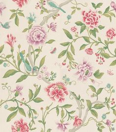 Porcelain Garden Magenta/Leaf Green (DCAVPO106) - Sanderson Wallpapers - Inspired by early 19th C hand-painted Chinese wallpapers, with peony blossoms and birds as if painted in soft watercolours and pastels. Shown in the Magenta pink and Leaf green colourway. Wide width. Please request sample for true colour match.