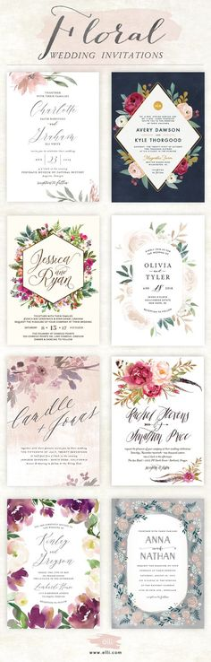 Stunning selection of floral wedding invitations available at elli.com