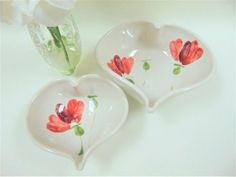 Studio Pottery Ballydougan Co. Armagh Poppy Pattern Heart Shaped Dish Pair