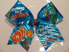 """3 inch width """"You're my Nemo"""" Bow. comes on a hair pony Softball Bows, Cheerleading Bows, Competitive Cheerleading, Cute Cheer Bows, Make And Sell, Besties, Finding Yourself, Christmas Ornaments, Handmade Gifts"""